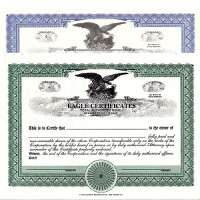 Formalize each shared record your company sells. Get custom Stock Certificates online. We print and ship. Distribute. Elegant eagle design by business supplies specialists Mark's Corpex.