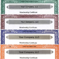 Our in-house LLC Membership Certificate design gives business owners new and old a simple, effective means of record-keeping. Customize online. Shipped from New York.