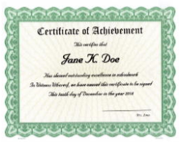 Need achievement certificates for a class, school, or seminar? Bestow a tangible reward. We'll custom print your unique award criteria onto beautiful, Goes templates and ship right away for distribution.