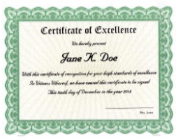 Need paper certificates to bestow excellence on an outstanding student or employee? We'll custom print your unique award criteria onto beautiful, Goes templates and ship right away for distribution.