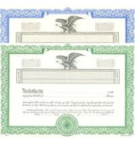 Formalize each shared record your company sells. Order blank Stock Certificates online. We print and ship templates. You fill out. Distribute. Left-facing, Eagle insignia.