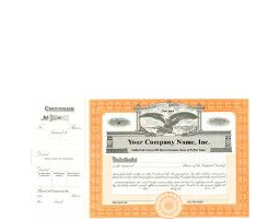 Need stock certificates with capital text? An invested team of business professionals will print, long form templates with an orange border to include your company's unique info.