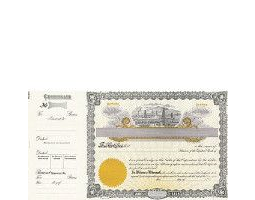 Beautiful, long form stock certificates represent claims on ownership for oil business shareholders.