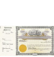 Beautiful, long form stock certificates represent claims on ownership for oil business shareholders. Custom printed to include all relevant corporate details.
