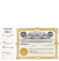 Beautiful, long form stock certificates represent claims on ownership for mining company shareholders.