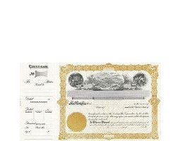 Beautiful, long form stock certificates represent claims on ownership for mining company shareholders. Custom printed with unique details given at incorporation.