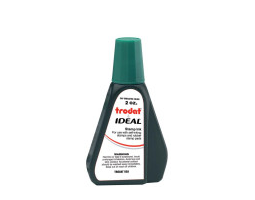 Trodat IDEAL brand green ink can be used to refill traditional stamp pads and most self-inking models.