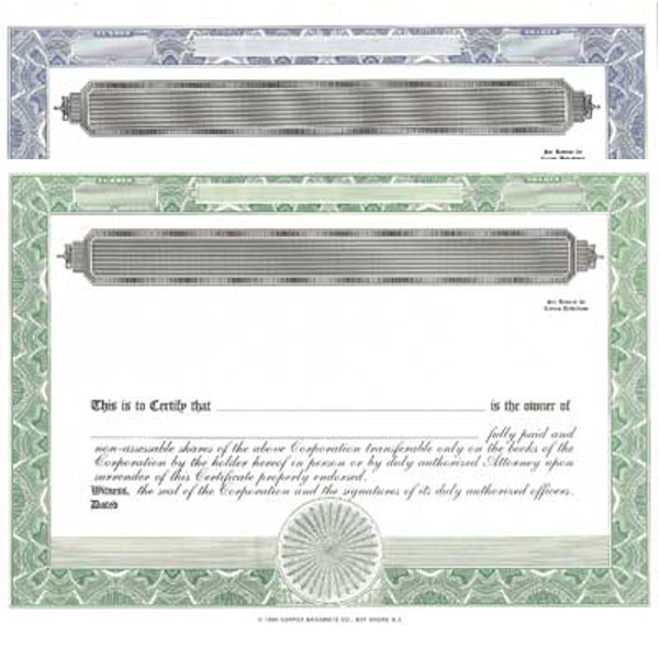 Formalize each shared record your company sells. Order blank Stock Certificates online. We print and ship templates. You fill out. Distribute. Simple CORPEX design.