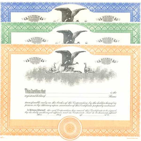 Formalize each shared record your company sells. Get custom Stock Certificates online. We print and ship. Fill out and distribute. Right-facing, Eagle insignia.