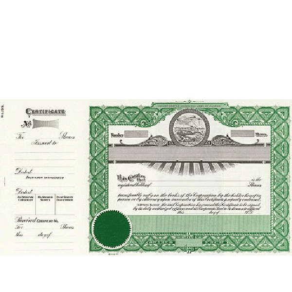 Incorporate in Kansas? Formalize each shared record your company sells. Order certificates online. We ship blank, paper templates for distribution. Beautifully lithographed, state specific series by Goes.