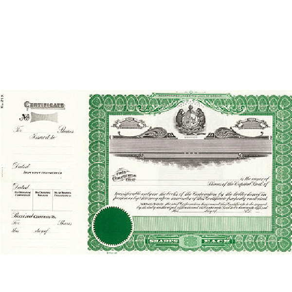 Incorporate in Missouri? Formalize each shared record your company sells. Get custom Stock Certificates online. We'll print and ship. Distribute beautifully lithographed paper objects by Goes.