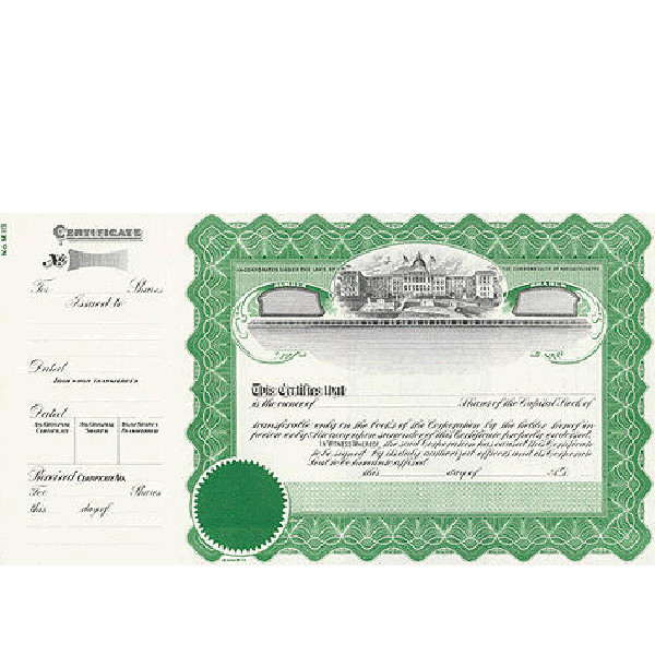 Incorporate in Massachusetts? Formalize each shared record your company sells. Get custom Stock Certificates online. We'll print and ship. Distribute beautifully lithographed paper objects by Goes.