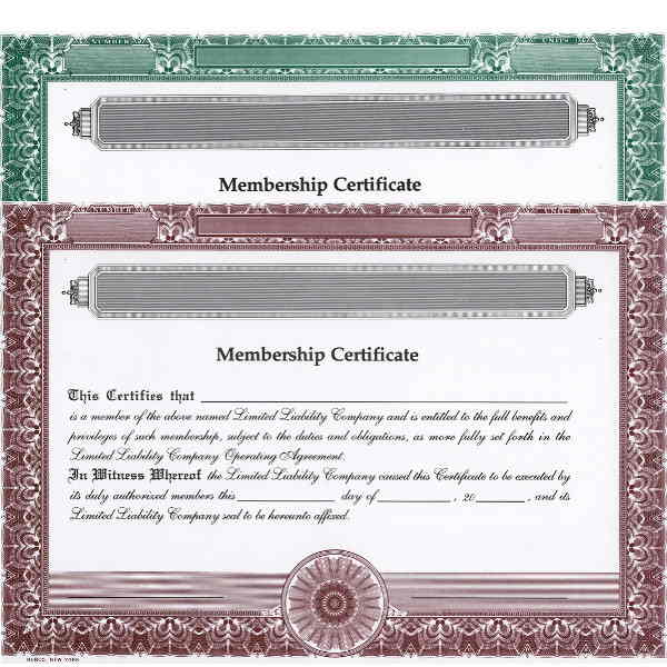 Regulate company members. Order LLC Certificates online. We ship templates. You edit. Distribute. In-house HUBCO design.