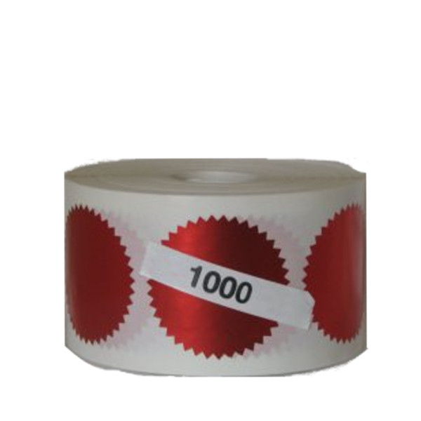 Get a 1000 roll of red foil embossing labels to embellish your corporate seals.